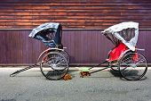 image of rickshaw  - Japanese Rickshaw in the Old Town of Hida - JPG