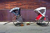 stock photo of rickshaw  - Japanese Rickshaw in the Old Town of Hida - JPG