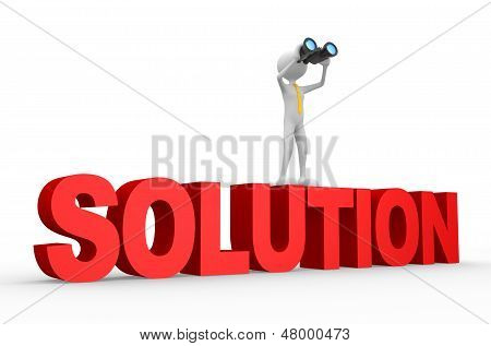 3D Man, With A Binocular. Solution Concept.