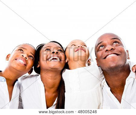Happy family looking up - isolated over a white background