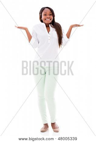 Casual woman looking clueless - isolated over a white background