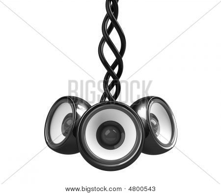 Black Hanging Audio System Isolated