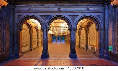The pedestrian underpass at Bethesda Terrace, Central Park, New York City.