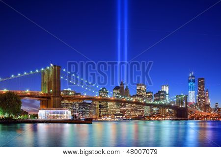 New York City's Tribute in light September 11th Memorial.