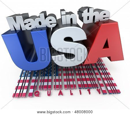 3D made in USA  with American flag colors and a bar code marked quality