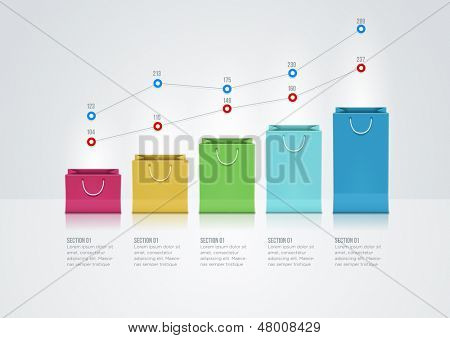 Vector infographic design template with paper bags.