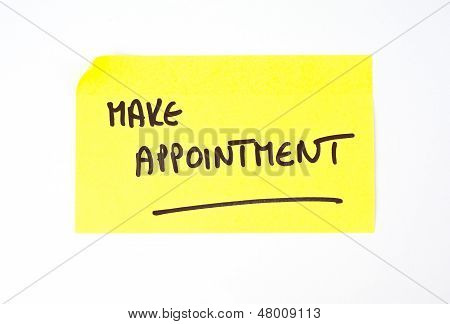 'Make Appointment' written on a sticky note