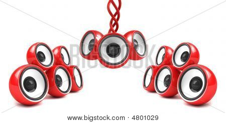 Red Stylish Audio System Over White