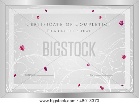 Certificate, Diploma of completion (template) with golden floral pattern (swirl, scroll), flower