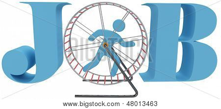 Person gets nowhere in rat race dead end job as hamster or mouse cage wheel treadmill