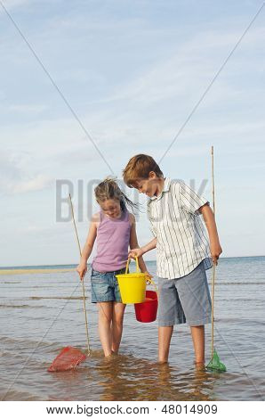 Brother and sister with buckets and small fishnets in water on beach