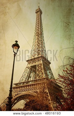 Retro Eiffel Tower (nickname La dame de fer, the iron lady),The tower has become the most prominent symbol of both Paris and France