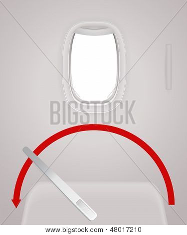 Interior of Aircraft. Plane door, window (porthole). Travel by Airplane