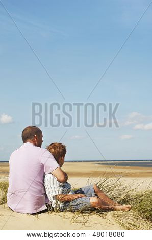 Rear view of father and son sitting on sand and looking at view on beach