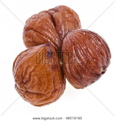 Cooked chestnut fruit close up isolated on white background