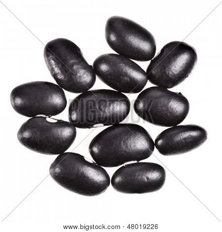 Black beans isolated on white background