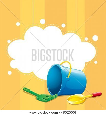 Illustration of a stationery with a blue pail, a shovel and fork