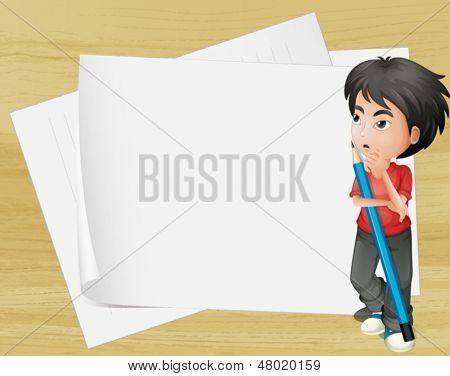Ilustración de un niño con un lápiz al lado de los papeles vacíos