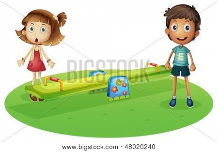 Illustration of a girl and a boy near the seesaw on a white background