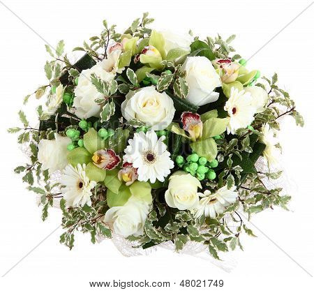 Floral Compositions Of White Roses, White Gerberas And Orchids. Floristic Composition, Design A Bouq