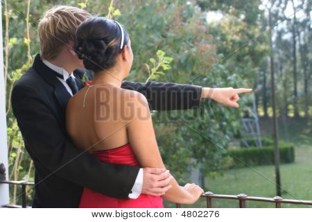 Young Couple In Formal Attire Looking Over A Balcony