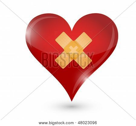 Broken Heart. Heart And Band Aid