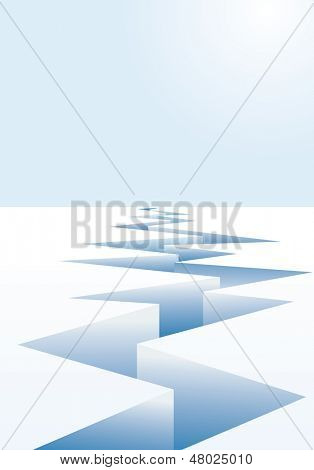 vector background for global warming with ice crack