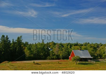 New England Red Barn And Farm