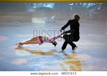 MOSCOW - DEC 14: Pair perform at Young sportives display an iceskating shot at Ice Palace Mechta on Decmber 14, 2012 in Moscow, Russia.