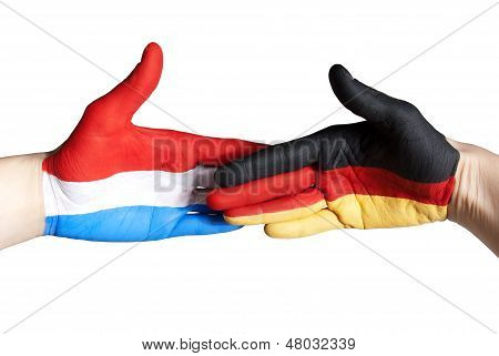 Handshake Between Germany And The Netherlands
