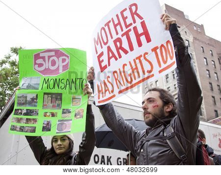NEW YORK-MAY 25: A protestor holds a sign that says 'Mother Earth Has Rights Too' at the March Against Monsanto on May 25, 2013 in New York. The rally was part of a global movement against GMO's.