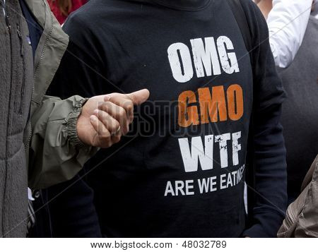 NEW YORK-MAY 25: A close up of a t-shirt that says 'OMG GMO WTF Are We Eating?' worn by a protestor during the global March Against Monsanto from Union Square on May 25, 2013 in Manhattan.