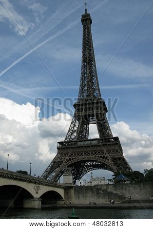 Eiffel Tower and Seine River in Paris France