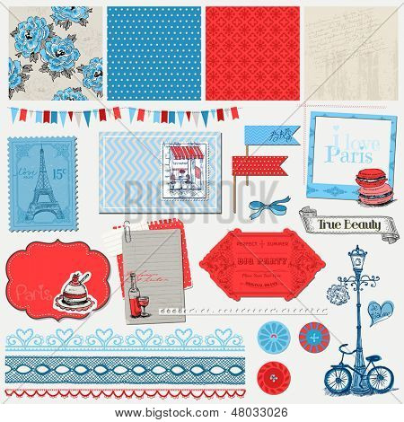 Scrapbook Design Elements - Paris Vintage Set - in vector