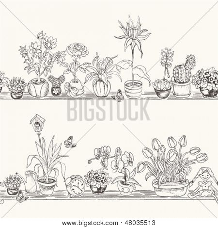 Seamless horizontal background from flowerpots with flowers and decorative elements.