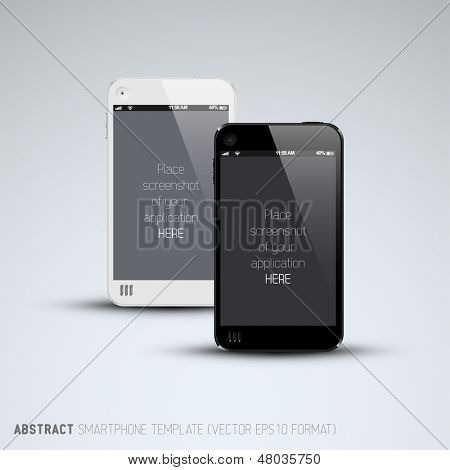 Abstract white and black smartphones template with place for your application screenshot