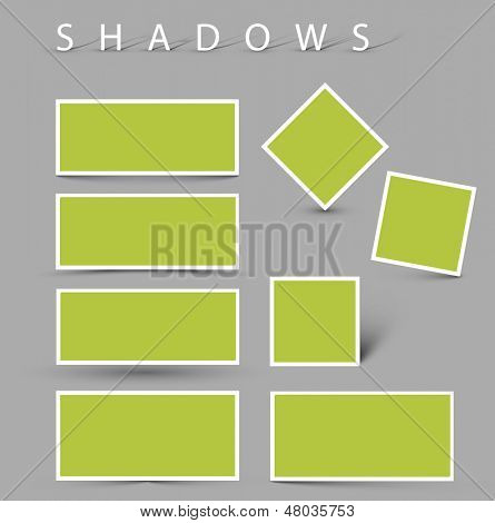 Satz von Vektor-Schatten-Effekte - weiße Karten mit realistischen Schatten