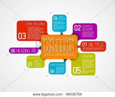 Vector diagram template with fresh colors and colorful descriptive bubbles