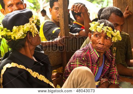 BERDUT, MALAYSIA - APR 8: Unidentified people Orang Asli in his village on Apr 8, 2013 in Berdut, Malaysia. More than 76% of all Orang Asli live below the poverty line, life expectancy - 53 years old.