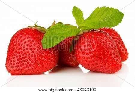 Ripe sweet strawberries and mint, isolated on white