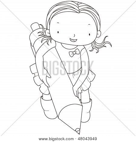 Coloring Illustration Of A Girl With Ballpoint Pen