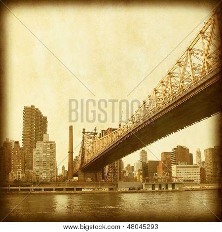 Grunge image of Queensboro Bridge in New York City.