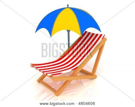 Chaise Longue And Umbrella