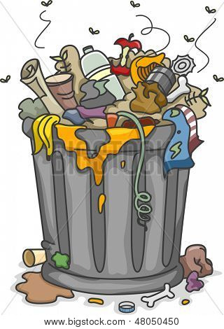 Illustration of Overflowing Trashbin with Flies