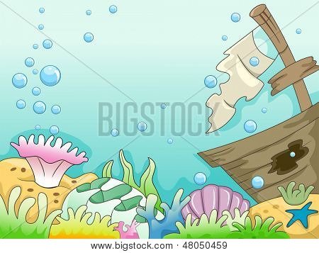 Illustration of Underwater Shipwreck