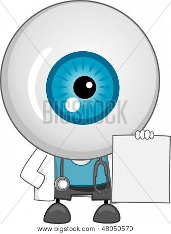 Illustration of Eyeball Doctor Mascot Holding a Blank Prescription