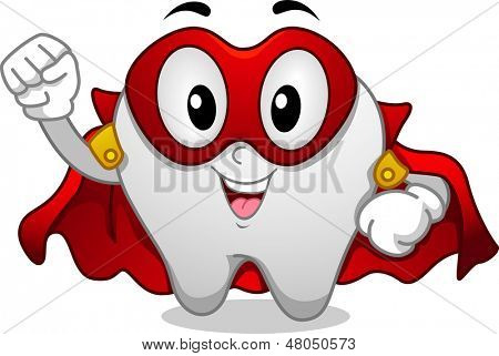 Illustration of Tooth Superhero Mascot wearing Red Mask and Cape