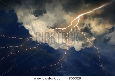 Lightning On Clouds Sky.