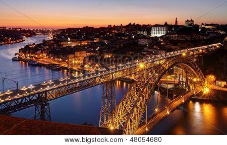 Oporto - river Douro an Dom Luis bridge after sunset