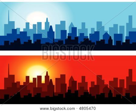 Cityscape At Dawn And Dusk